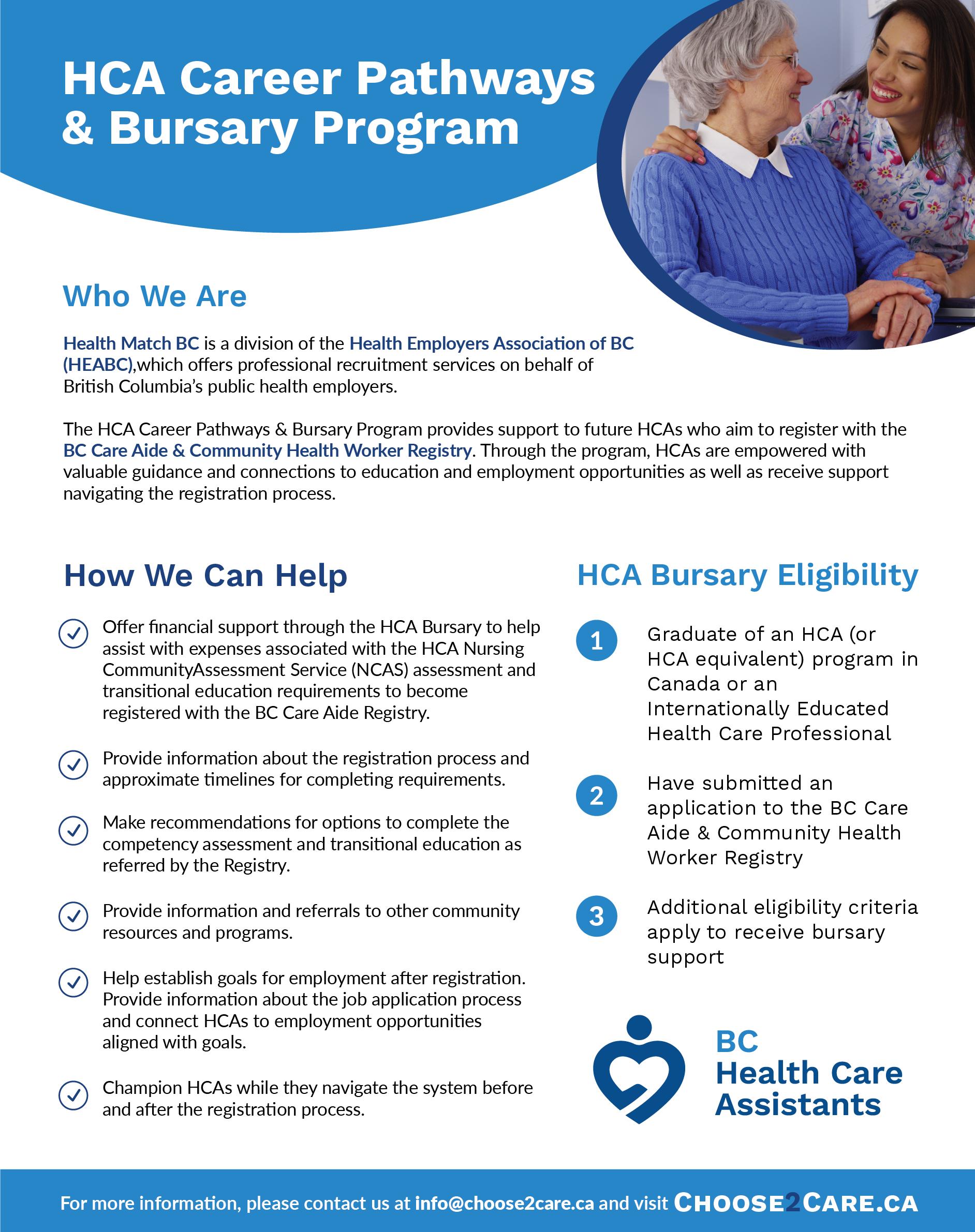 Infosheet - HCA Career Pathways & Bursary Program
